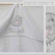 cape de bain-personnalisé-cadeau de naissance-Liberty-betsy platine