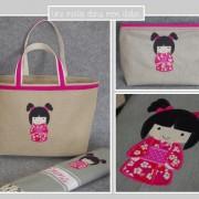 coffret cadeau-personnalisé-poupée japonaise-Liberty-mitsi rose