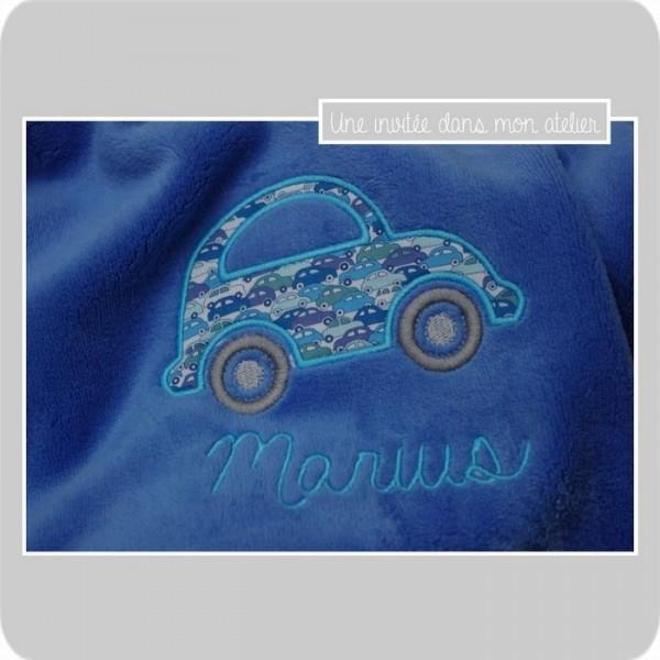couverture-ultra douce- enfant-personnalisée-cadeau de naissance-Liberty cars blue
