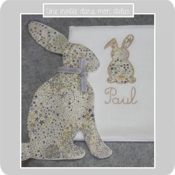 lange-personnalisé-lapin-Liberty-adelajda brun-une invitée dans mon atelier