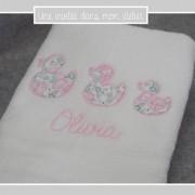 serviette de toilette personnalisée-Liberty-Félicité dragée