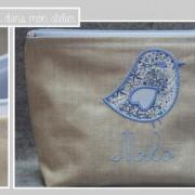 trousse de toilette-lin enduit-doublée-Liberty adelajda bleu