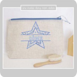 trousse de toilette-personnalisée-étoile-Liberty adelajda bleu-Côme