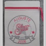 zippette- personnalisée-star since-gris et rouge