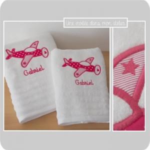 Coffret serviette de douche et serviette de toilette-cadeau de naissance personnalisé