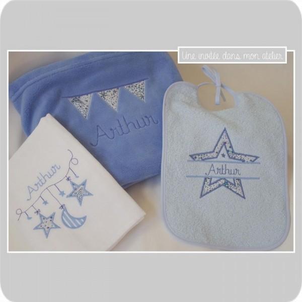 cadeau de naissance-coffret parsonnalisé- Liberty adelajda bleu
