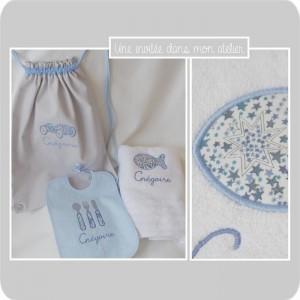 cadeau de naissance-personnalisé-sac à dos-serviette de toilette-bavoir-Liberty adelajda bleu