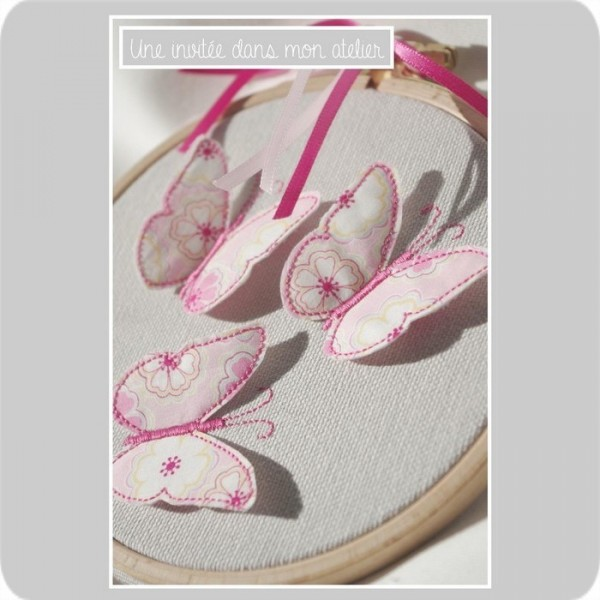 cadre-tambour-Liberty toria rose-papillons 3D