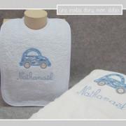 coffret-cadeau de naissance-serviette de douche-bavoiréponge-Liberty cars blue