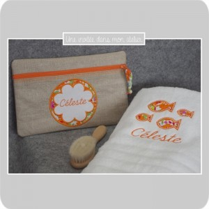 coffret cadeau de naissance-trousse-serviette de toilette-Liberty betsy orange