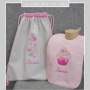 coffret cadeau-naissance-sac à dos-bavoir éponge-Liberty-félicité rose
