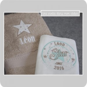 coffret cadeau-naissance-serviette de toilette-lange-star since