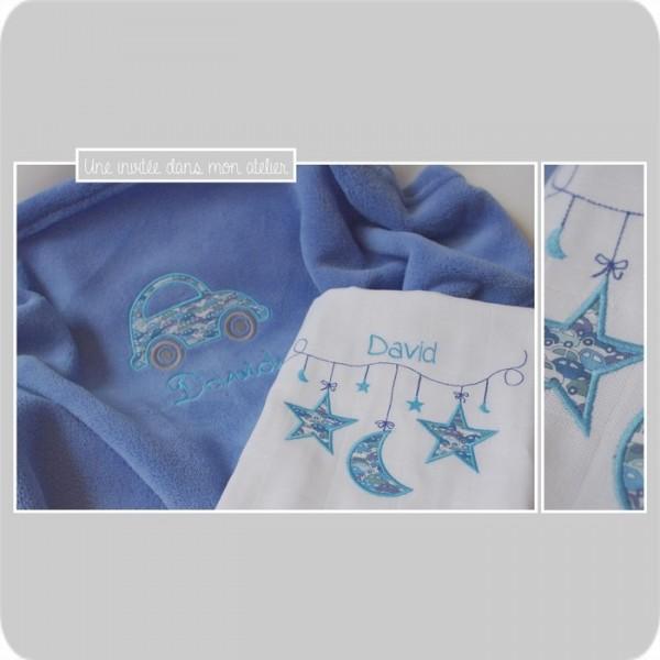 coffret cadeau personnalisé-naissance-Liberty cars bleu