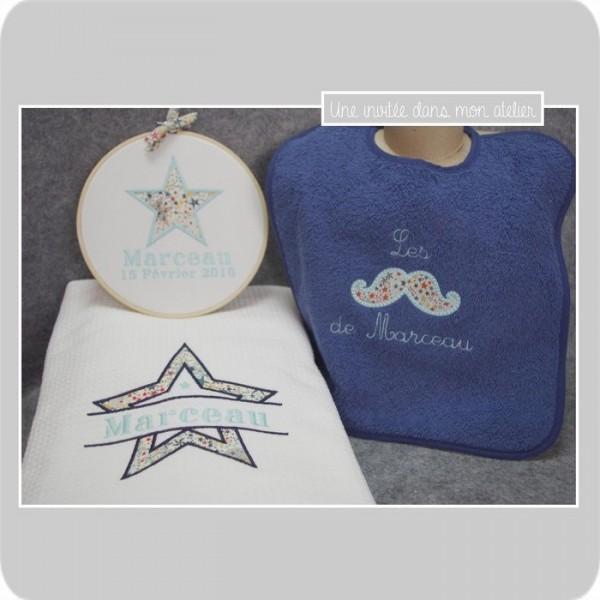 coffret naissance-serviette de douche-bavoir-cadre tambour personnalisé-Liberty adelajda multicolor