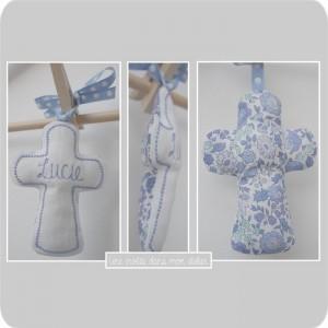 croix en tissu-Liberty Danjo bleu
