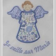 lange personnalisé-ange gardien-Tante Menoue-Liberty Danjo bleu