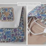 pochette-chargeur-Liberty poppy and daisy beige et bleu
