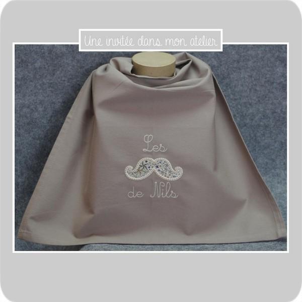 serviette de table-à pression-pour enfant-moustaches-Liberty-adelajda brun-uneinvitée dans mon atelier