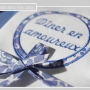 Duo de serviettes-dîner en amoureux-Liberty betsy new bleu