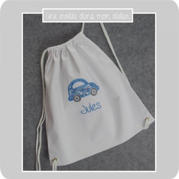petit sac-personnalisé-voiture-Liberty cars blue