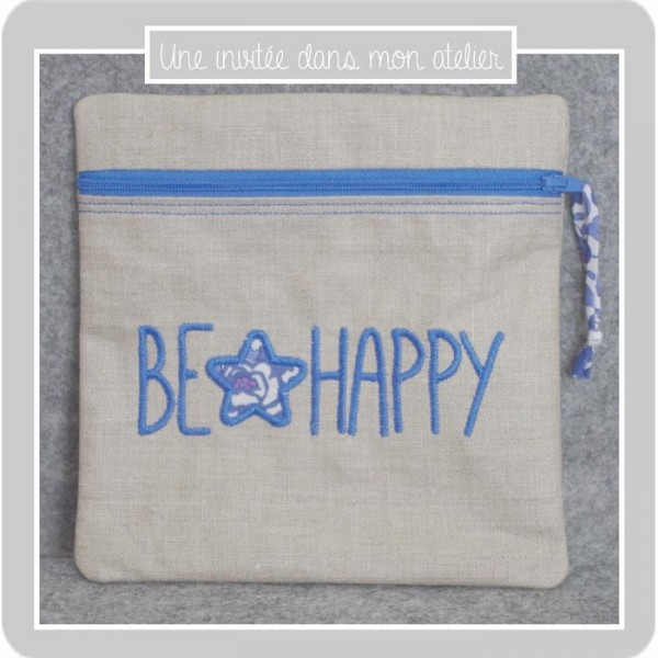 pochette-carrée-lin enduit-be happy-Liberty-betsy new bleu