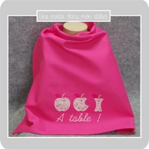 serviette de table-à pression-pour enfant-Liberty-eloise rose-uneinvitée dans mon atelier