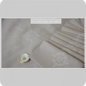 chemin de table et serviettes de tables personnalisés-rose de vents-Bretagne - Copie