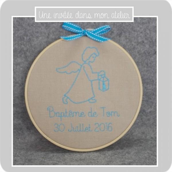 cadre-tambour-ange-cadeau de baptême-personnalisé