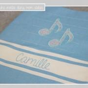 fouta personnalisée-Liberty-Katie and millie bleu