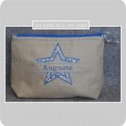 trousse de toilette-personnalisée-lin enduit-Liberty adelajda bleu