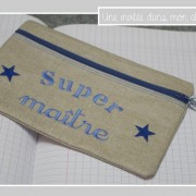trousse plate-lin enduit-Liberty adelajda bleu-super maître-cadeau de fin d'année pour l'école