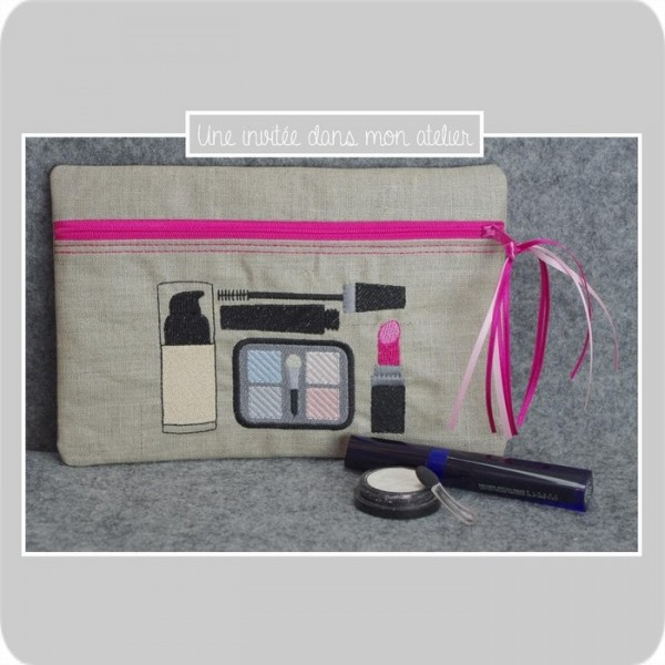 trousse plate-lin enduit-maquillage-rose fushia