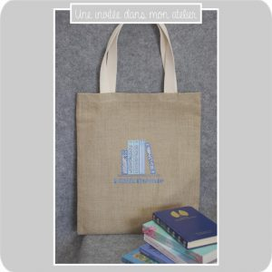 Tote bag-lin-bibliothèque-Liberty-adelajda bleu-Liberty katie and Millie bleu