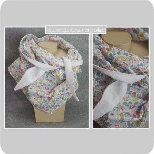 foulard plumetis et Liberty betsy porcelaine