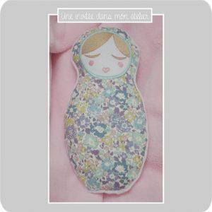 doudou-poupée rusee-Liberty Michelle lilac
