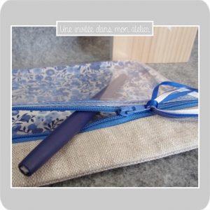 trousse-see inside-lin enduit-Wiltshire bleu