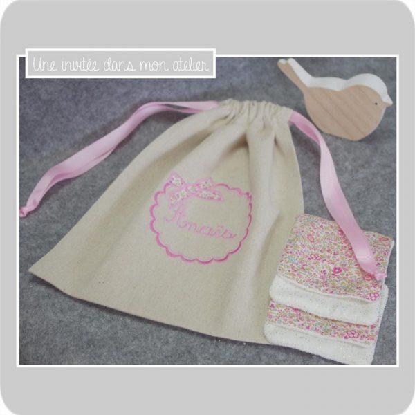 coffret cadeau de naissance-sac et lingettes-Liberty Katie and millie rose