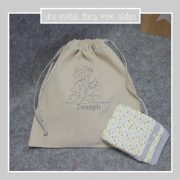 lingettes-lavables-éponge de bambou-petit sac personnalisé-une invitée dans mon atelier