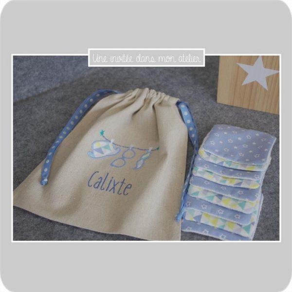 pochon-personnalisé-lingettes-éponge de bambou-cadeau de naissance