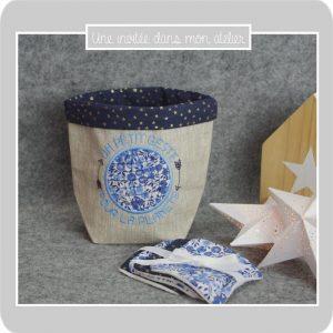 Petit panier en lin enduit-lingettes-éponge de bambou-Liberty-wiltshire bleu-une invitée dans mon atelier