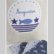 panier personnalisé-lingettes lavables-éponge de bambou-cadeau de naissance-une invitée dans mon atelier