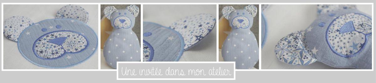 coffret-doudou-et-lange-ours-3D-oreilles eb liberty-adelajda bleu-une invitée dans mon atelier
