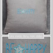 coussin-Be happy-Liberty wiltshire light blue