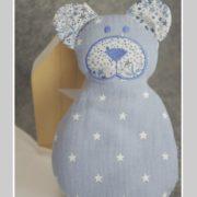 doudou-double gaze-Liberty adelajda bleu-nounours-une invitée dans mon atelier