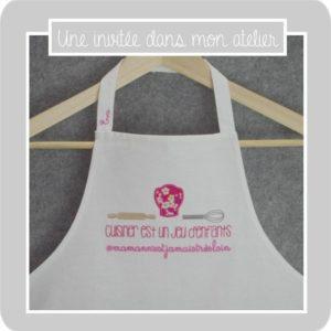 tablier de cuisine-pour enfant-personnalisé-Liberty-mitsi rose