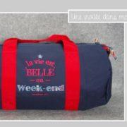 sac polochon-20 litres-la vie est belle en week end-Liberty boxford roge et bleu