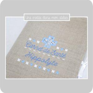 protège carnet de santé-personnalisé-Liberty-adelajda bleu