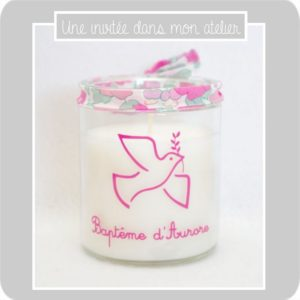 bougie-personnalisée-cadeau de baptême-Liberty betsy pink and gold