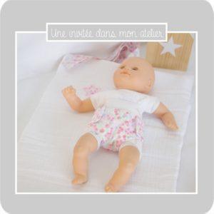 coffret poupée-tapis à langer et couche-Liberty wiltshire dragée-une invitée dans mon atelier