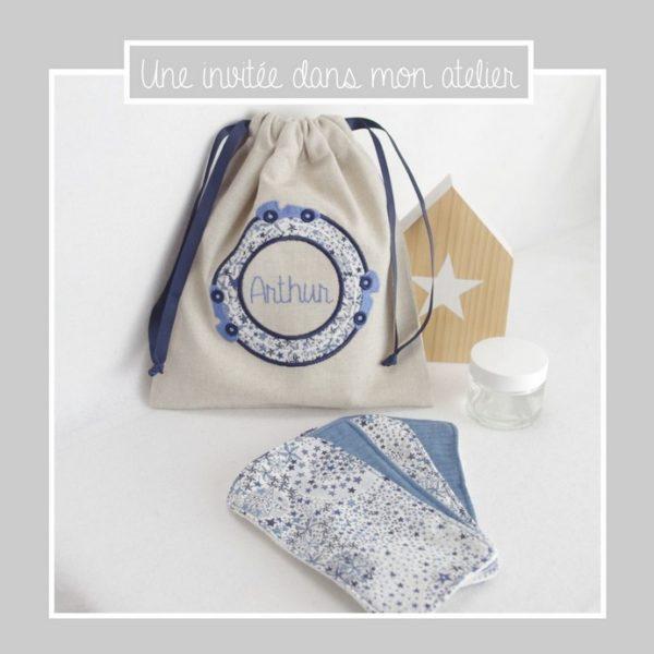 grandes lingettes-lavables-sac personnalisé-Liberty-adelajda bleu